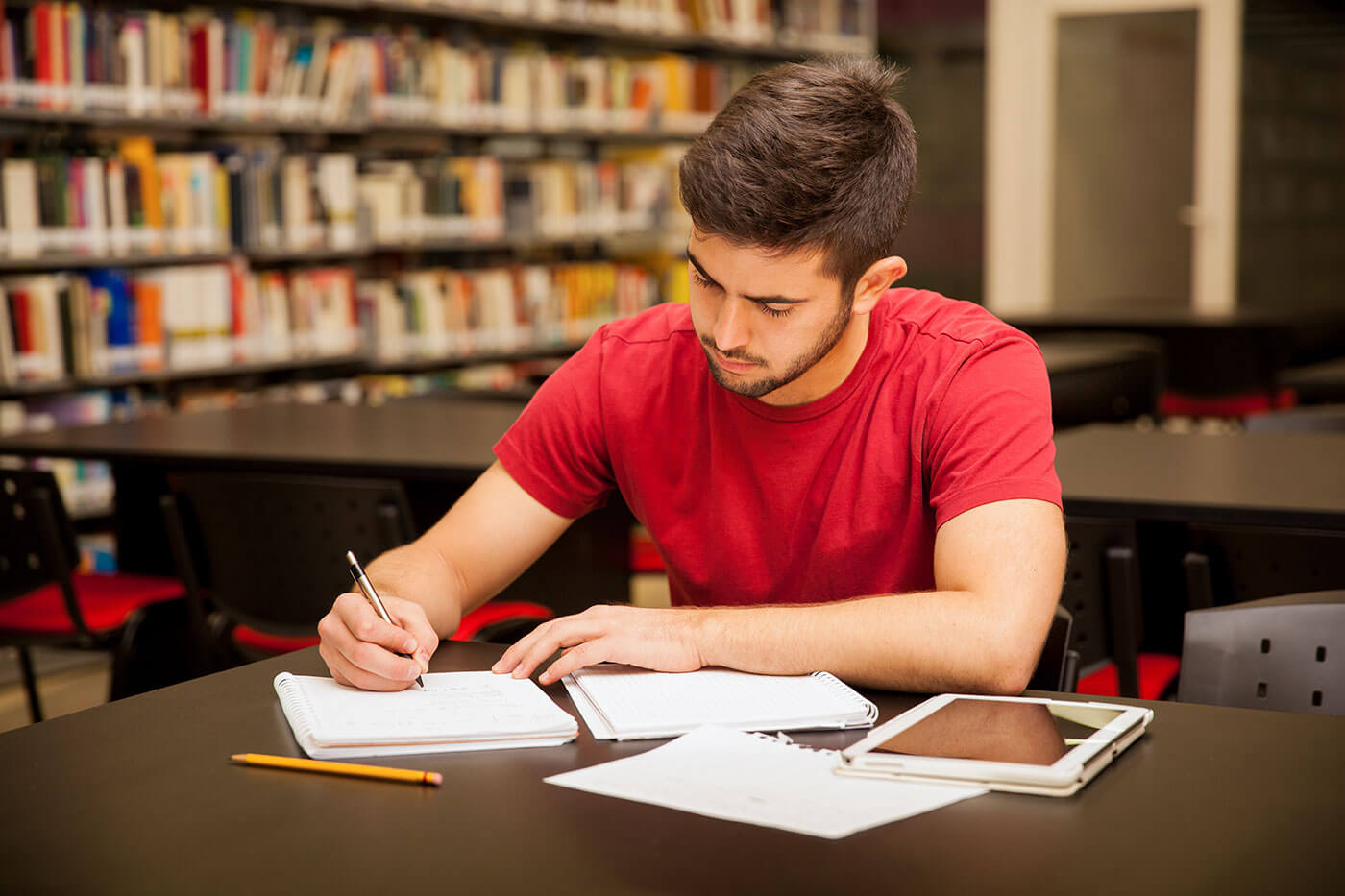 College Accounting Student in the Library